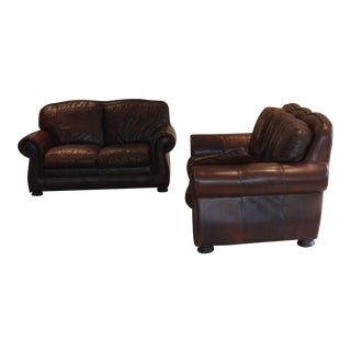 Haverty's (Leather Trend) Vintage Autumn Sofa and Loveseat Set