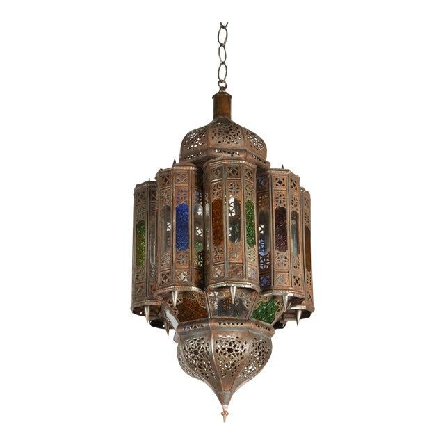 Vintage Moroccan Mamounia Glass Pendant For Sale