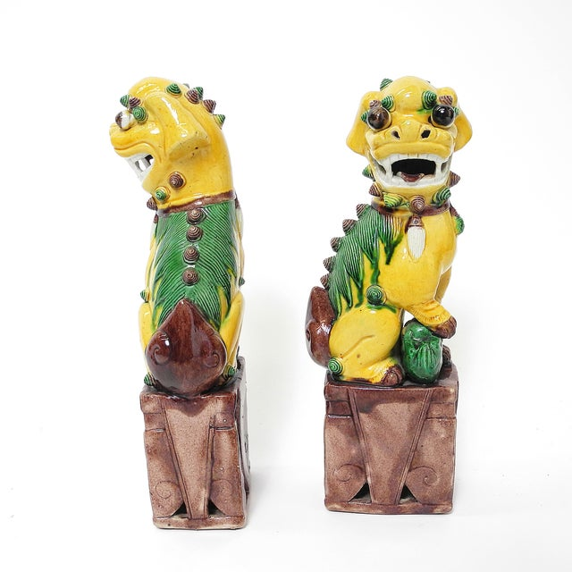 Sancai Chinese Export Foo Dogs - Pair - Image 4 of 7