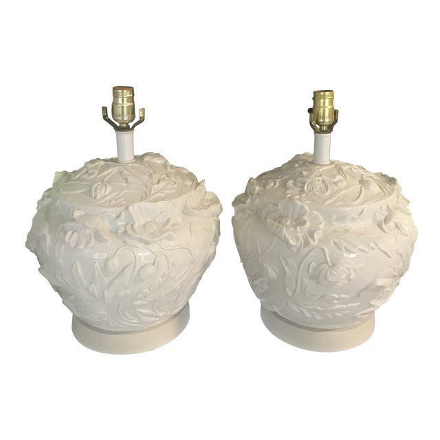 1960s Italian Ceramic Hamd Made Floral Lamps Blanc De Chine - a Pair For Sale