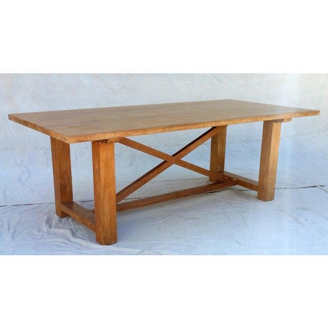 Vintage Pickled Teak Trestle Table - Image 2 of 11