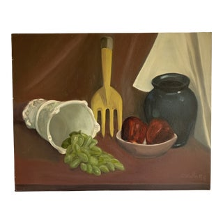 Vintage Original Canvas Still Life Painting For Sale