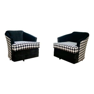 Chenille Houndstooth and Silk Velvet Upholstery Swivel Chairs - a Pair For Sale