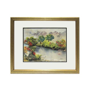 Vibrant Asian Artist Signed Watercolor in Gilt Wood Frame For Sale