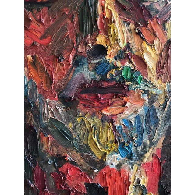 2000 - 2009 Joe Reno Textural Self Portrait Painting For Sale - Image 5 of 9