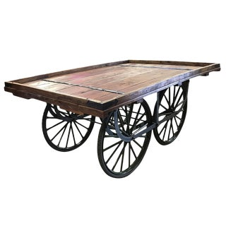 Aged Indian Tea Cart Table