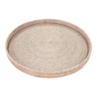 Artifacts Rattan Round Tray With Glass Insert For Sale
