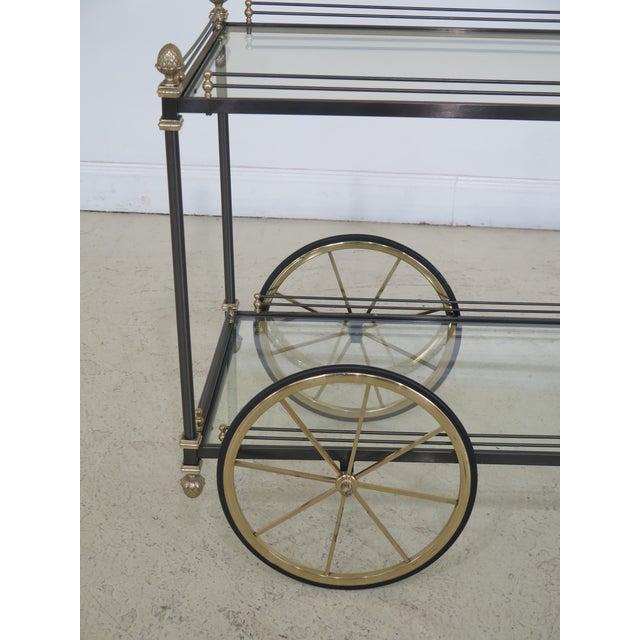 Regency Style Brass & Steel Tea Cart Server For Sale - Image 9 of 11