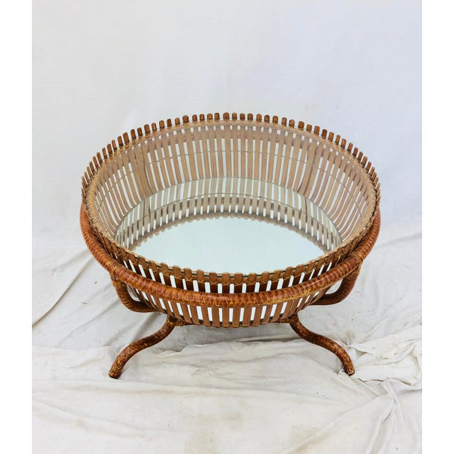 Brown Vintage Rattan & Glass Top Coffee Table For Sale - Image 8 of 12