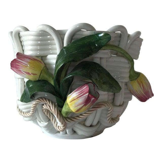 Majolica Basketweave Tulip Planter - Image 1 of 10