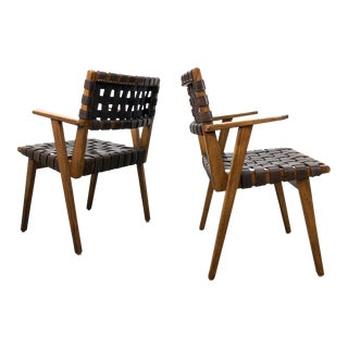 Pair of Mid-Century Modern Leather Webbed Chairs For Sale