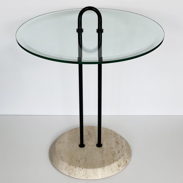 Vico Magistretti Travertine and Glass Side Table for Cattelan Italia For Sale - Image 12 of 13
