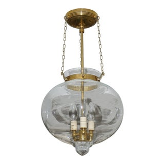Bell Onion Hand-Blown Glass and Brass Hanging Light Fixture For Sale