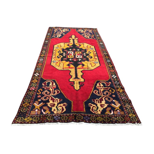 Vintage Anatolian Hand Knotted Rug - 5′1″ × 11′4″ For Sale