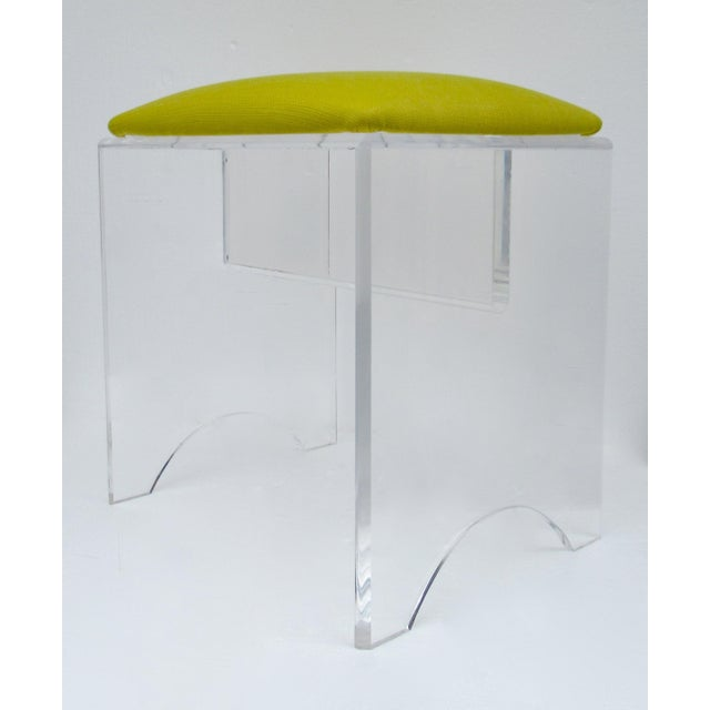 Boho Chic Vintage Mid-Century Lucite Bench With Sunbrella Indoor/Outdoor Textile For Sale - Image 3 of 13