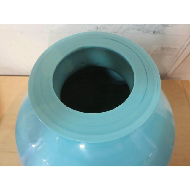 Robert Kuo Robert Kuo Turquoise Hand Blown Peking Glass Vase, Signed For Sale - Image 4 of 6