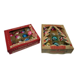 20th Century Americana Christmas Ornaments in Boxes - 24 Pieces For Sale