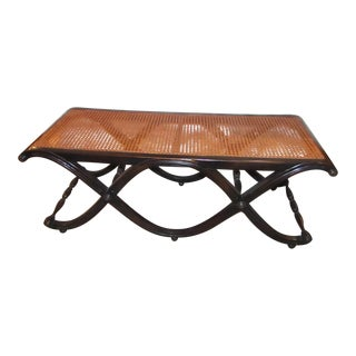Carved Wood Decorative Bench With Cane Seat