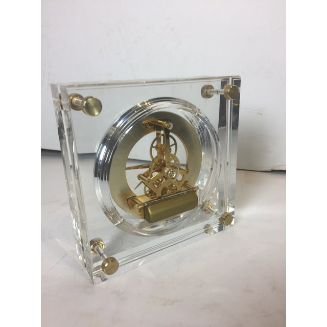 Metal Late 20th Century Vintage Square Shape Lucite Clock For Sale - Image 7 of 13