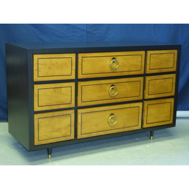 1950s Modern Ebonized Mahogany Dresser Credenza with Brass Ring Pulls For Sale - Image 11 of 11