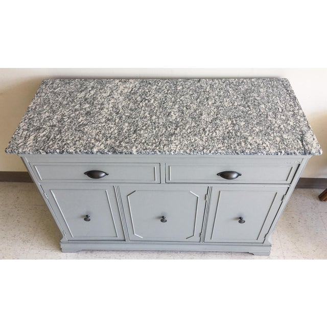 Granite Grey Painted Server With Granite Top For Sale - Image 7 of 11