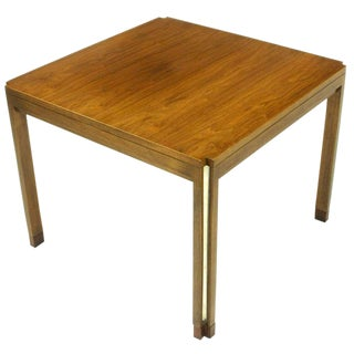 Edward Wormley for Dunbar Walnut, Rosewood, and Aluminum Inlaid End Table