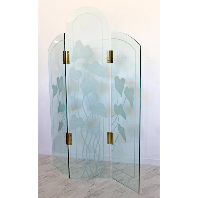 For your consideration is a magnificent, screen or room divider, with three ornate glass panels, connected by brass...