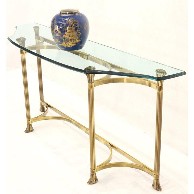 Metal Bent Brass Base Curved Glass Top Figural Console Sofa Table For Sale - Image 7 of 13