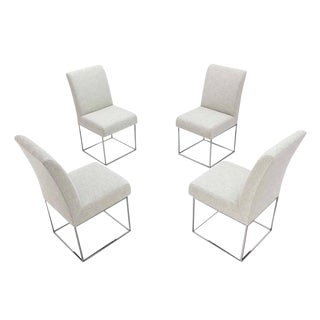 Set of Four Milo Baughman Dining Chairs New Upholstery For Sale