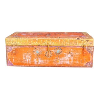 Bohemian Vintage Metal Painted Trunk For Sale