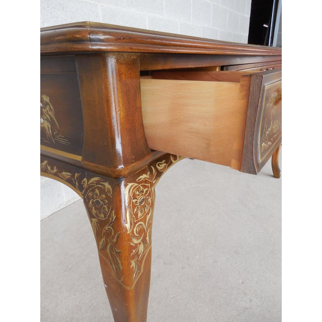 Drexel Et Cetera Chinoiserie Tooled Leather Top Writing Desk - Image 10 of 11