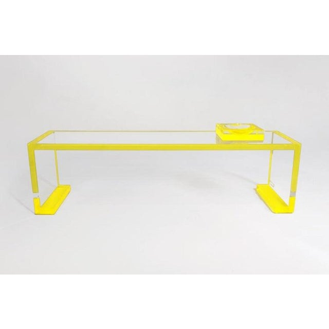 Yellow-Transparent Lucite Console Table For Sale - Image 4 of 6