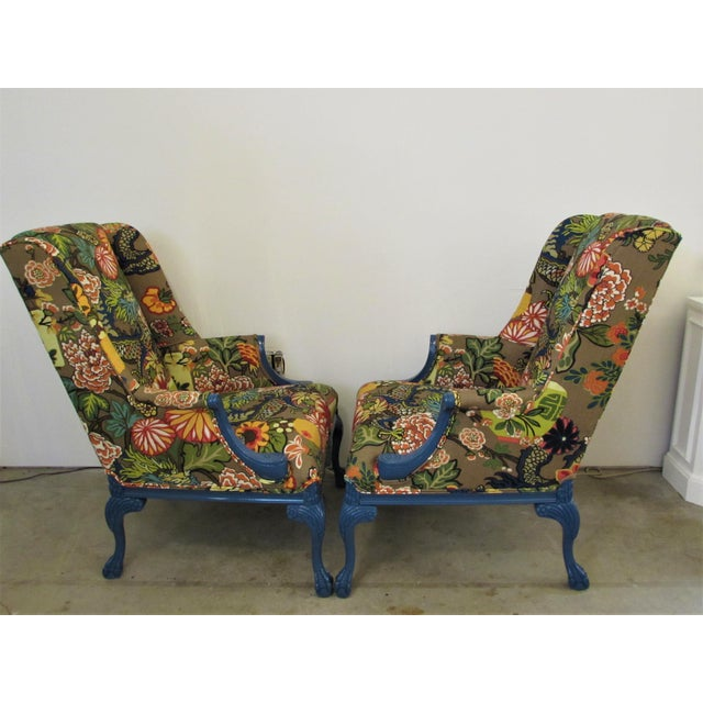 Art Deco Pair of English Lacquered Georgian Style Gainsborough Armchairs For Sale - Image 3 of 11