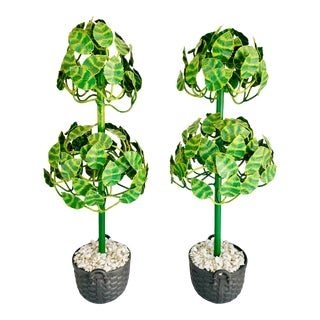 1980's Tole Topiary Trees by Petite Choses-a Pair For Sale