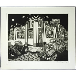 Vintage 1950s Diner Etching by Bruce McCombs For Sale