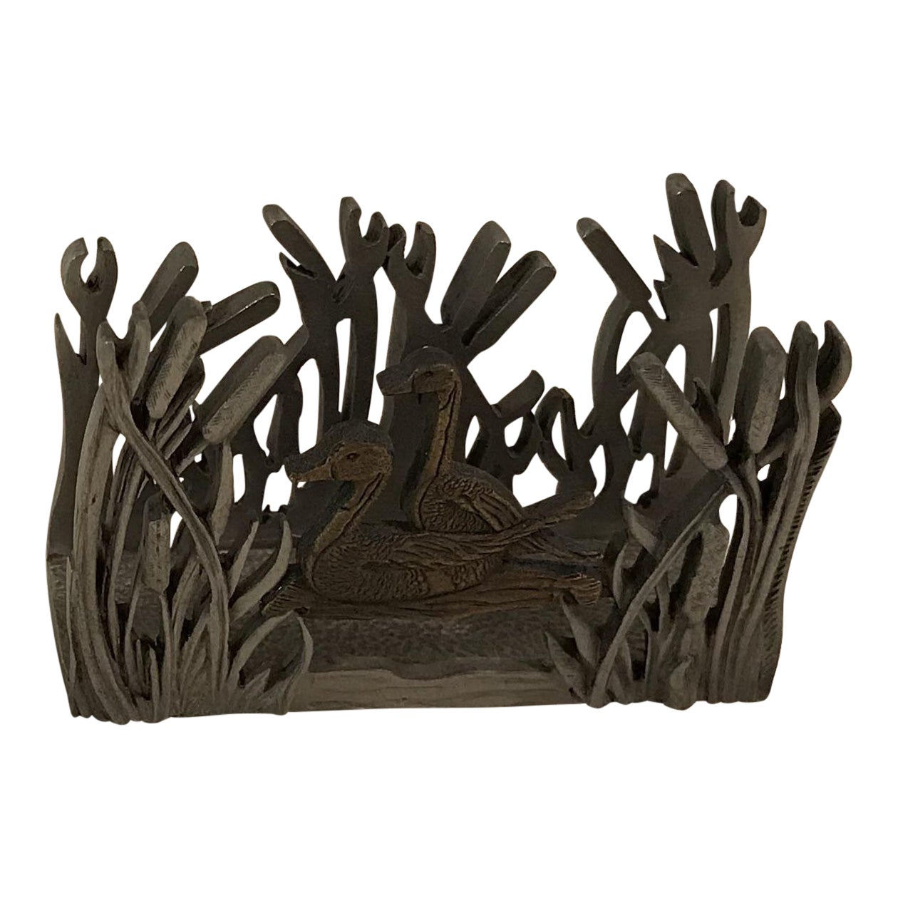 Duck in Wetlands Pewter Business Card Holder | Chairish