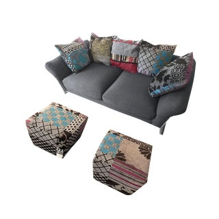 Kenzo & Phil Bouix for Roche Bobois Tanagre Sofa & Poufs - Set of 3