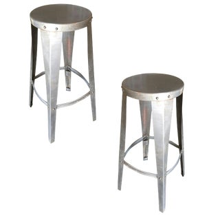Rustic Brushed Steel Metal Industrial Stools - a Pair For Sale