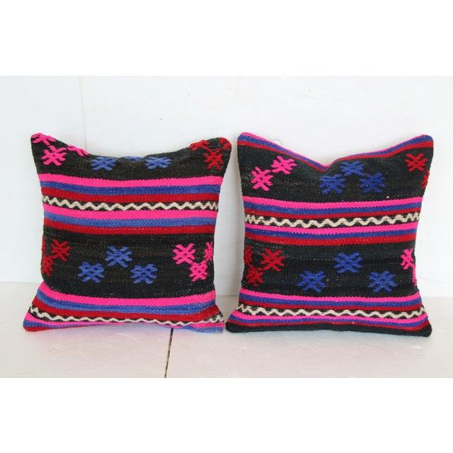 Boho Chic Turkish Kilim Cushions - A Pair For Sale - Image 3 of 4
