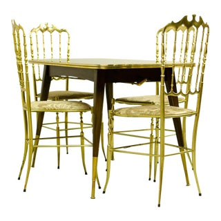 Mid-Century Modern Design Dining Set of Four Solid Polished Brass Chiavari Chairs by Giuseppe Gaetano Descalzi and Belgium Game Table, 1950s
