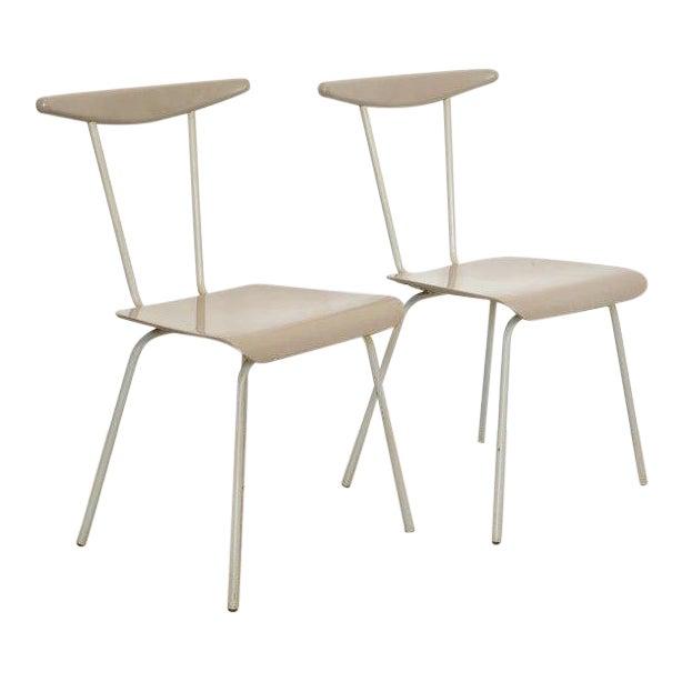 Pair of Light Gray Dressboy Chairs, Wim Reitveld 1950's For Sale