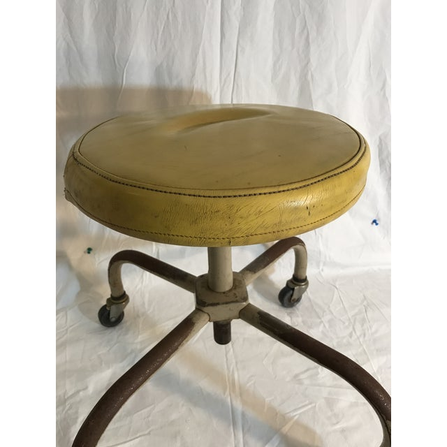 Vintage Industrial Casters Low Stool with Yellow Vinyl - Image 7 of 10