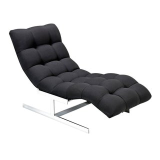 Milo Baughman Style Black and Chrome Chaise