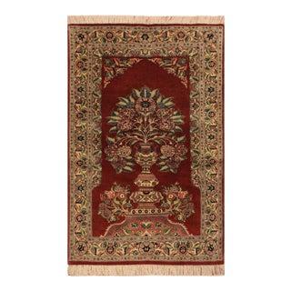 "Kashan Pak-Persian Candi Rust/Ivory Wool Rug - 3'1"" X 5'1"" For Sale"