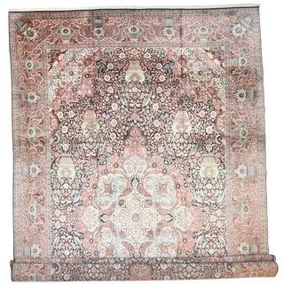 RugsinDallas Vintage Hand Knotted Silk Kashmir Rug- 13′9″ × 22′6″ For Sale