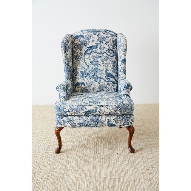 Asian Chinoiserie Upholstered Queen Anne Wingback With Ottoman For Sale - Image 3 of 13