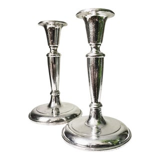 Antique Silver Candlesticks From Waldorf Astoria Hotel Nyc - a Pair For Sale