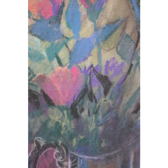 """1980s Vintage """"Roses"""" Painting by Artist John Elliot For Sale - Image 5 of 13"""