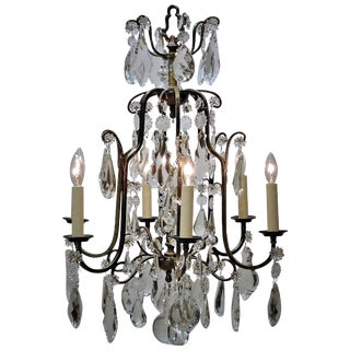 Louis XV Style Aged Brass and Crystal Six-Light Chandelier, France, circa 1930 For Sale