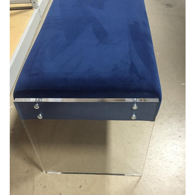 Navy Blue Velvet Bench Ottoman With Lucite Base - Image 5 of 6